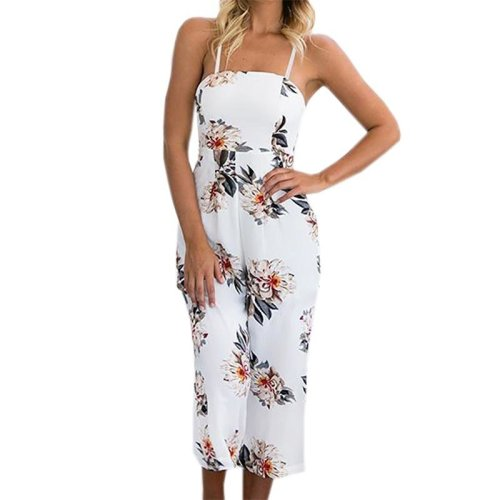 Floral Print Jumpsuits Strap Overalls 2017 Summer Women Sexy Loose Boho Backless Casual Playsuits Spaghetti Beach Jumpsuit GV765