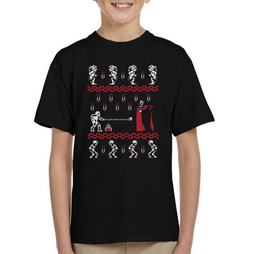 Christmasvania Transylvania Christmas Knit Pattern Kid's T-Shirt