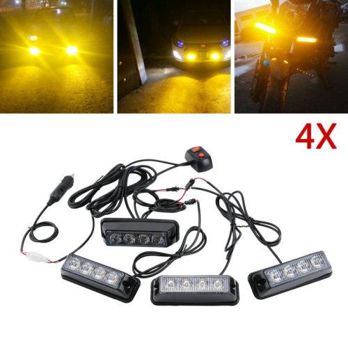4X4W 4LED Car Truck Police Strobe Emergency Flashing Flashing Lamp Warning Light