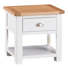 Portland White Painted Oak Lamp Table with Drawer