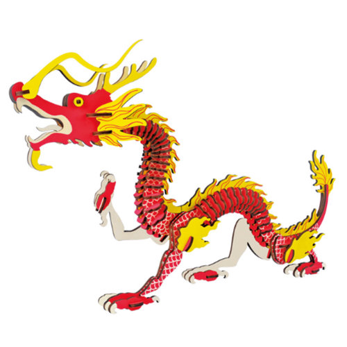 Chinese Dragon Design 3D Wooden Puzzle Nice Gifts for Kids and Adults