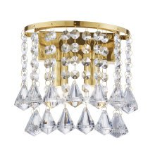 Clear Crystal Pyramid Drops Wall Bracket In Gold