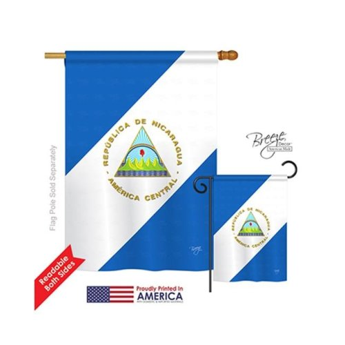 Breeze Decor 08160 Nicaragua 2-Sided Vertical Impression House Flag - 28 x 40 in.