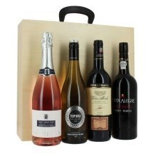 4 Bottles of Festive Wines in a Presentation Wooden Box