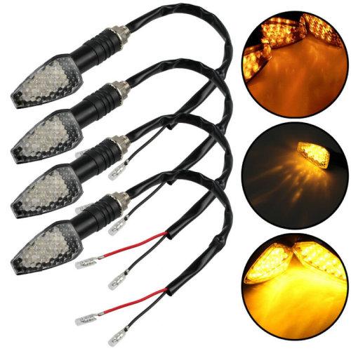 4PCS 12V 15 LED Motorcycle Turn Signal Indicators Amber Motorbike Turning Light