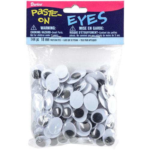 Paste-On Oval Wiggle Eyes 18mm 144/Pkg-Black