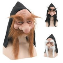 Fancy Dress Gnome Mask With Hood & White Beard -  gnome fancy dress mask dwarf beard old man troll hobbit white goblin hooded costume FANCY DRESS