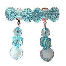 2 Pairs Girls Clip-on Earrings Princess Pendant Earclips Bow Blue