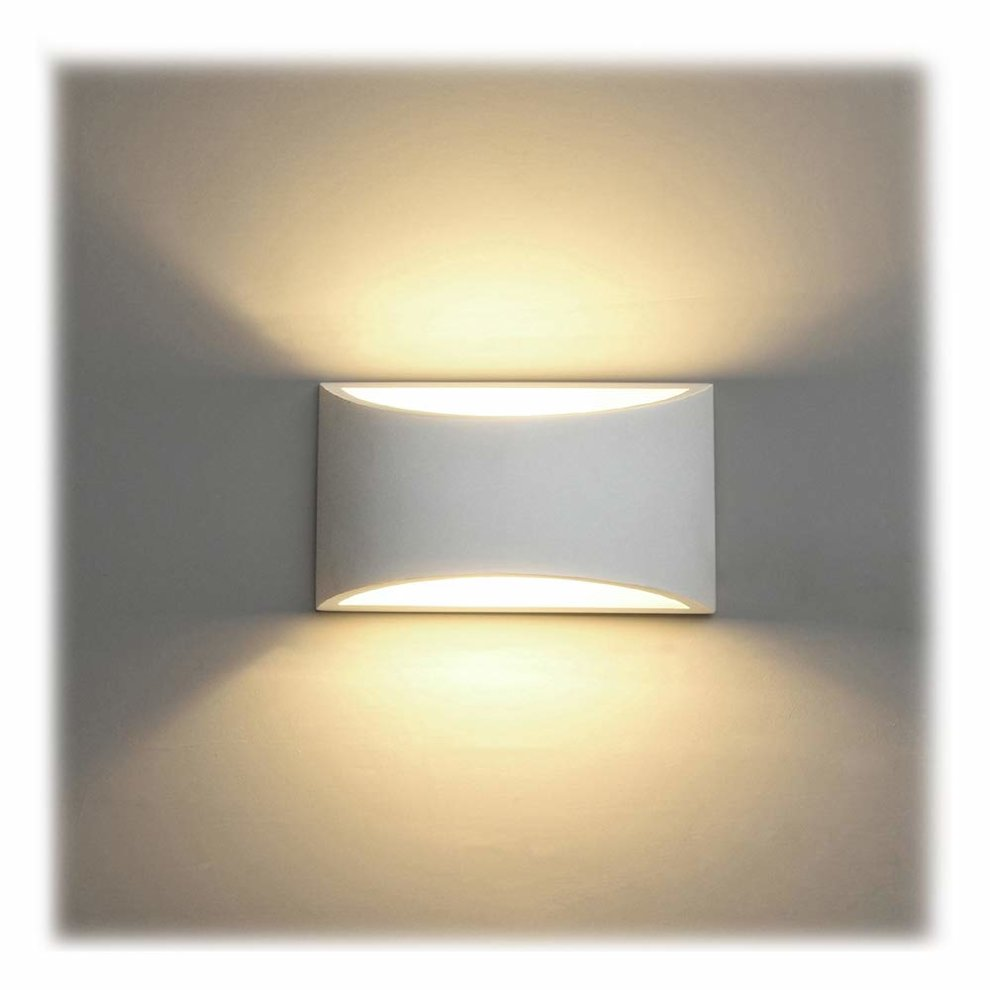 Led wall lights indoor modern white plaster wall wash lights 7w warm white led sconce up and down wall lamp for living room bedroom hallway g9