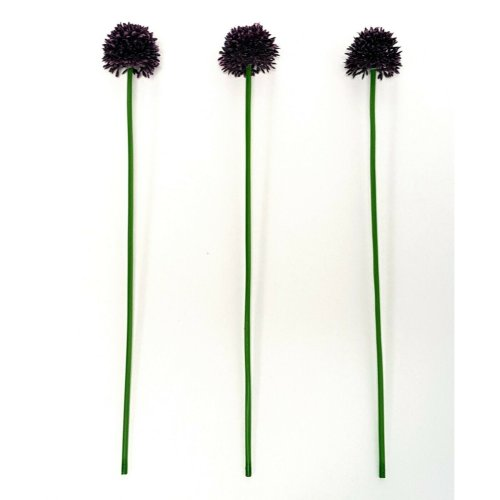 Set of 3 Artificial Mini Purple Allium Flower Stem - 38cm - Decorative Flowers