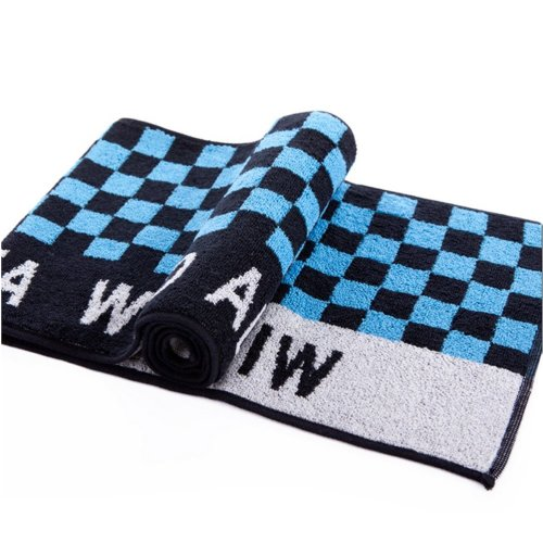 "Blue&Black Checker Cotton Active-Dry Yoga/ Workout Towel, 9"" x 39.3"""