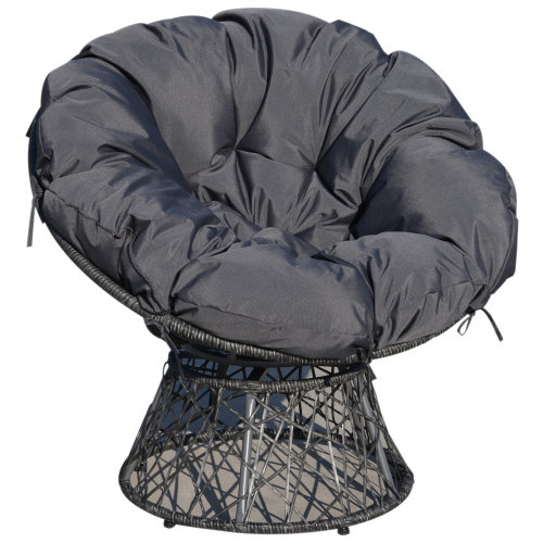 Amazing Outsunny 3600 Swivel Rattan Papasan Moon Bowl Chair Round Outdoor Lounge Garden Wicker Seat W Padded Cushion Oversized Machost Co Dining Chair Design Ideas Machostcouk