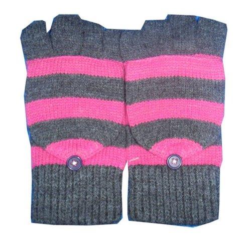 Women's Knit Winter Glove Half-finger gloves Grey convertible gloves