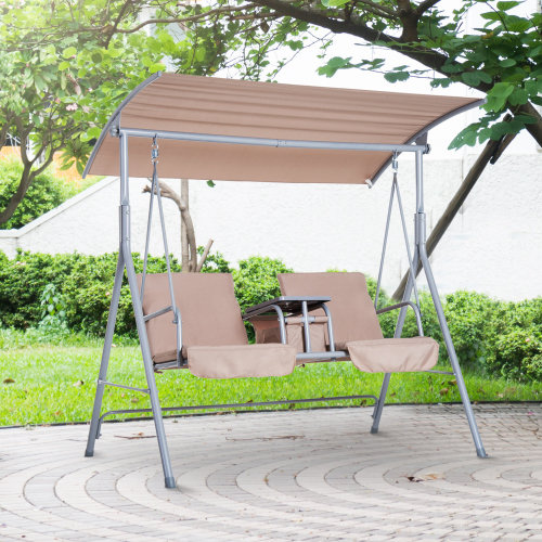 Outsunny Outdoor Double Swing Chair Adjustable Canopy Shelter Garden