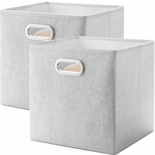 Meetmiss 12 6 Cube Storage Bo Set Of 2 Polyester Cotton Fabric Foldable Organizer With Handle Bins Baskets Containers For Clothes Closets On