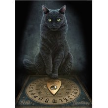 Lisa Parker His Masters Voice Blank Greeting Card Black Cat Ouija Board Birthday Christmas Pagan Wiccan Fantasy Gift