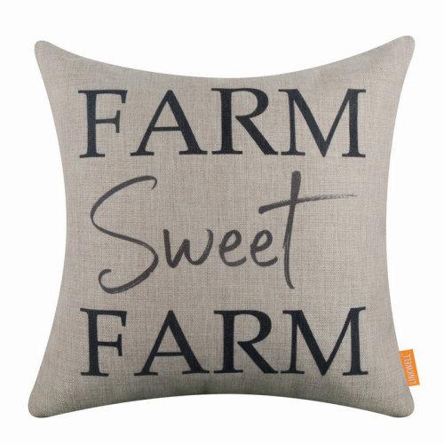 """18""""x18"""" Simple Black World Farm Sweet Farm Burlap Pillow Cover Cushion Cover"""