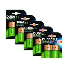 10 x Duracell D Size 3000 mAh Rechargeable Batteries NiMH LR20 HR20 DC1300 ACCU