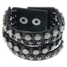 Black Leather & Gunmetal Studded Bracelet for Men by Urban Male
