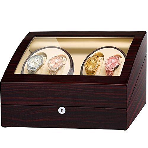 JQUEEN 4 Watch Winder Automatic Watch Winder Handmade Wooden Storage Case