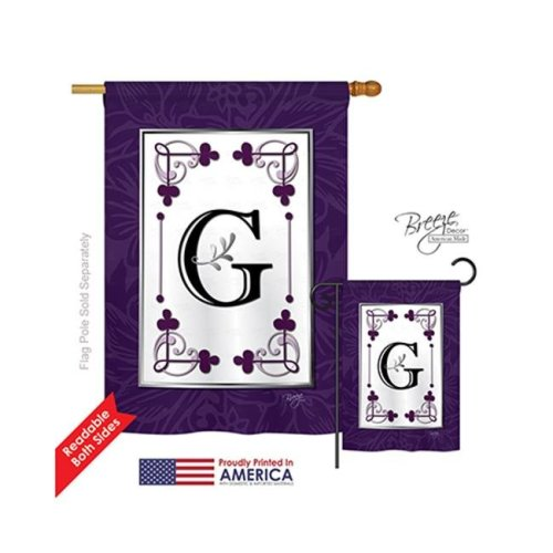 Breeze Decor 30007 Classic G Monogram 2-Sided Vertical Impression House Flag - 28 x 40 in.