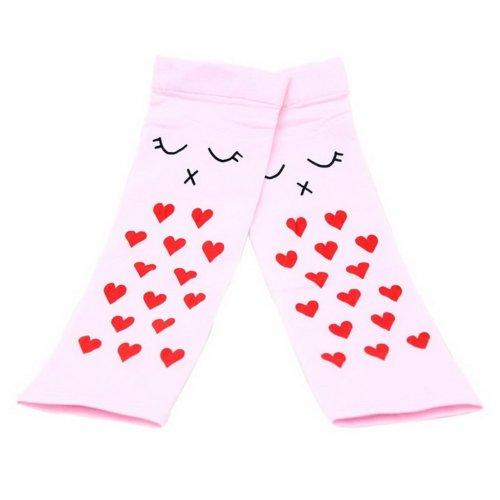 Girls Summer Cuff Outdoors Ride Sunscreen Cuffs Sun Protection Gloves Pink Heart