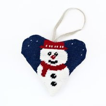 Snowman Heart Christmas Decoration Tapestry Kit
