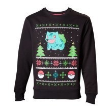 Pokemon Men's Bulbasaur in the Snow Christmas Jumper, Medium, Charcoal/Black (Model No. SW504574POK-M)