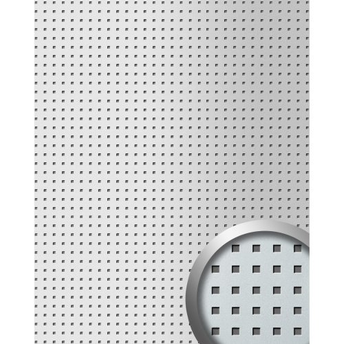 WallFace 10988 3D QUAD Wall panel square hole punched decor silver | 2.60 sqm
