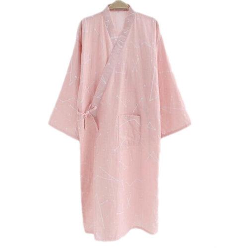 Japanese Style Women Thin Cotton Bathrobe Pajamas Kimono Skirt Gown-D11