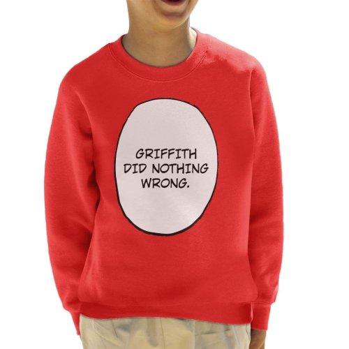 Griffith Did Nothing Wrong Berserk Kid's Sweatshirt