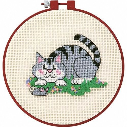 D72318 - Dimensions Learn-a-craft - Needlepoint: a Cat and Mouse