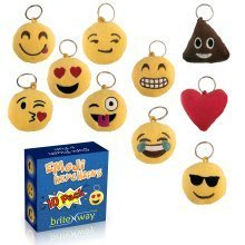 Emoji Keychain Round Faces - Cute Sweet Soft & Plush Yellow Pillow Keychains - Adorable Set of 10