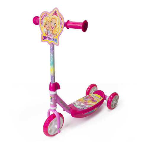 BARBIE Dreamtopia Kid's Three Wheel Tri Scooter with Adjustable Handlebar and Front Plate, Multi-colour (OBBD110)