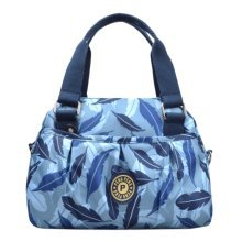 Women Waterproof Zipper Tote Bag Handbag Messenger Bag, Blue, feathers