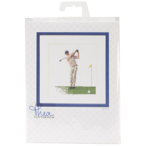 """Golf On Aida Counted Cross Stitch Kit-6.25""""X6.75"""" 18 Count"""