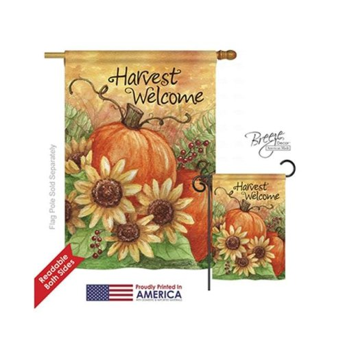 Breeze Decor 13060 Harvest & Autumn Pumpkin Sunflower 2-Sided Vertical Impression House Flag - 28 x 40 in.