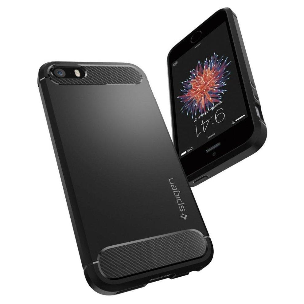new concept da665 11212 iPhone SE case, Spigen® iPhone 5S / 5 / SE case (Rugged Armor), carbon look  (black), elastic stylish soft flex TPU, silicone mobile phone cases...