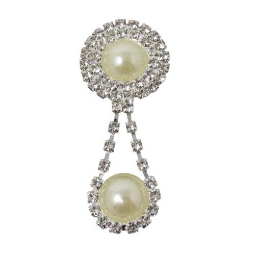 10 x Pearl & Diamante Drop Pendant Flatback Embellishment quality Crystal Rhinestones