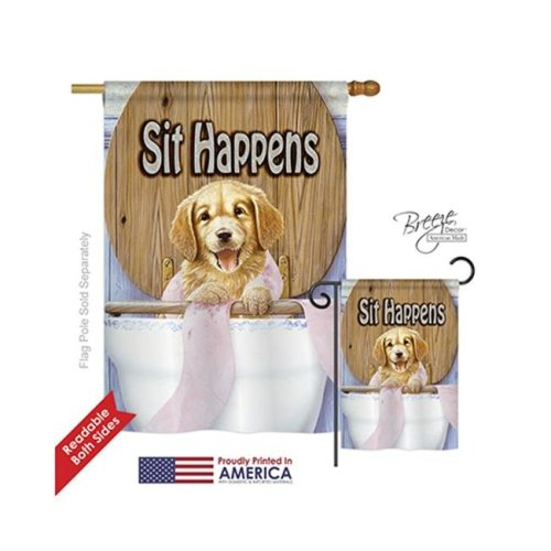 Breeze Decor 10008 Pets Sit Happens 2-Sided Vertical Impression House Flag - 28 x 40 in.
