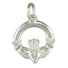 Sterling Silver Claddagh Pendant On A Snake Necklace