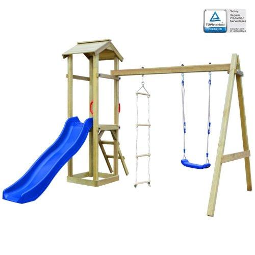 vidaXL Playhouse Set with Slide Ladders Swing 242x237x218 cm FSC Wood