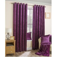 Velva Plum Crushed Velvet Eyelet Curtains