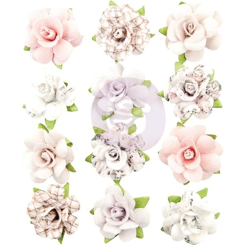 Prima Marketing Lavender Frost Mulberry Paper Flowers 12/Pkg-Aromatic Peace