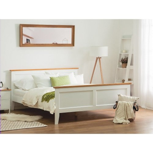 Super King Size White Wooden Bed 180 x 200 cm OLIVET