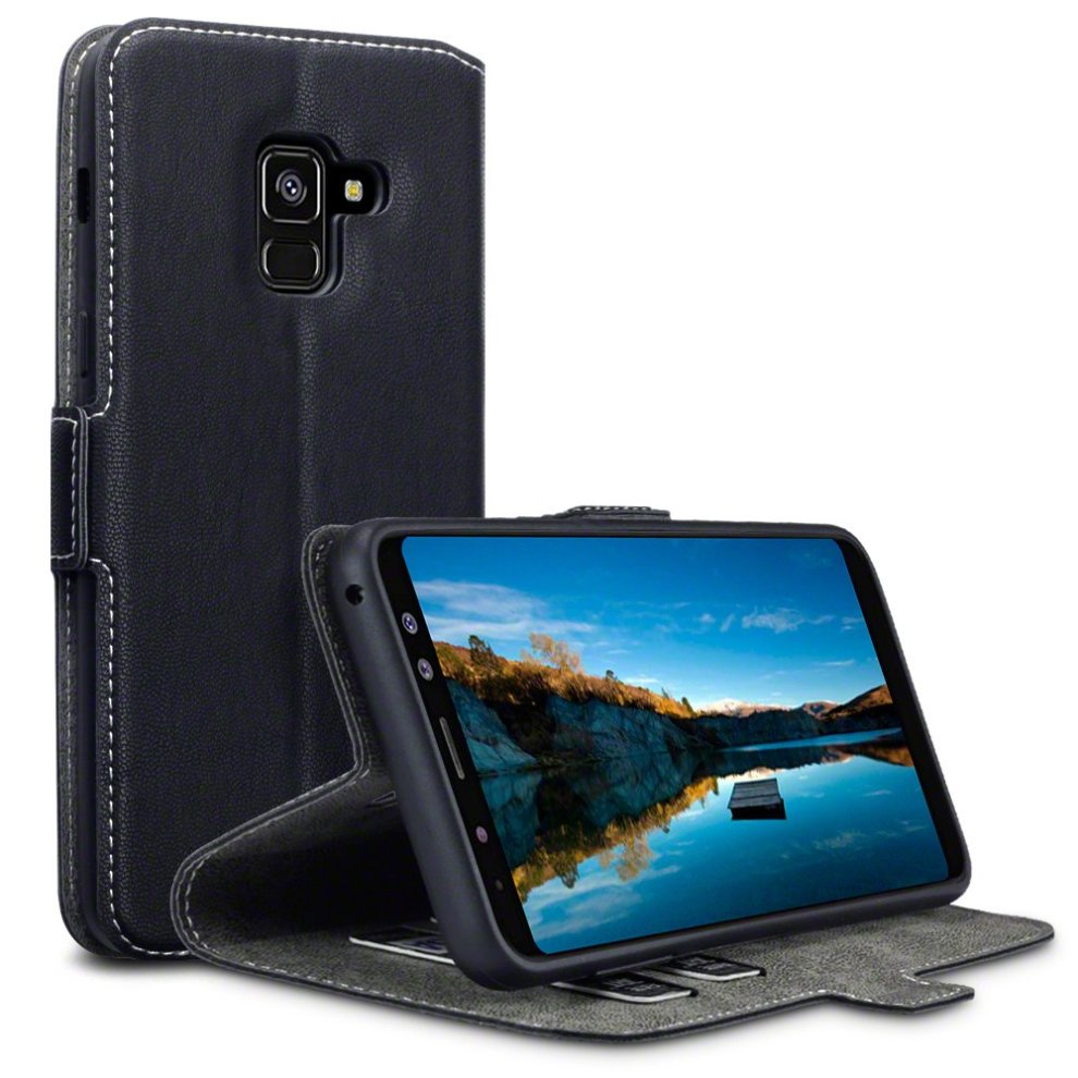 TERRAPIN 2018 Galaxy A8 Case Samsung Galaxy A8 2018 Leather Case Wallet Flip Cover - Ultra Slim Fit - Viewing Stand - Card Slots - Black on OnBuy