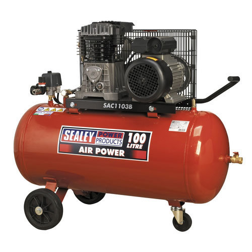 Sealey SAC1103B 100ltr Belt Drive Compressor 3hp with Cast Cylinders & Wheels