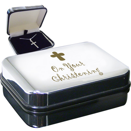 Christening Cross Necklace and Box