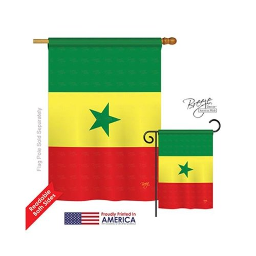 Breeze Decor 08309 Senegal 2-Sided Vertical Impression House Flag - 28 x 40 in.