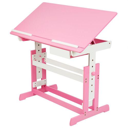Children's desk with drawer pink
